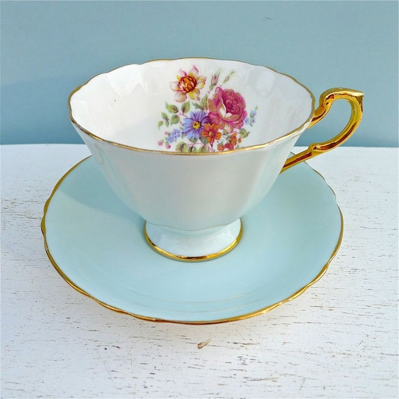 Vintage Paragon Pale Blue Tea Cup and Saucer