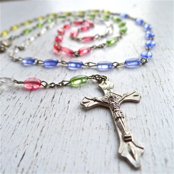 Vintage Multi Color Rosary Beads with Crucifix
