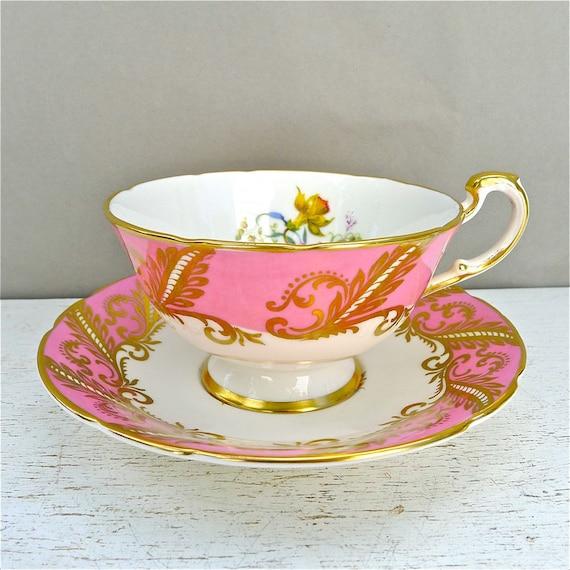 Vintage Paragon Pink Floral Tea Cup and Saucer