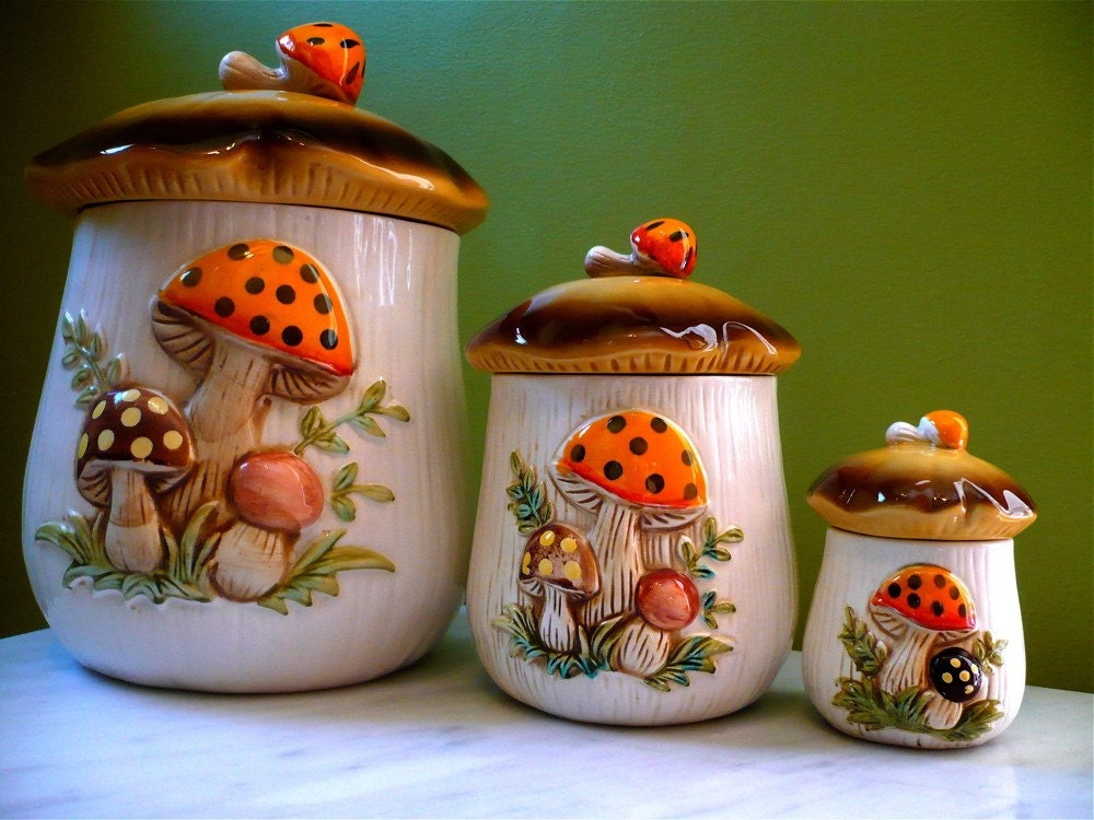 1970 39 S Sears Merry Mushroom Kitchen Canister Set