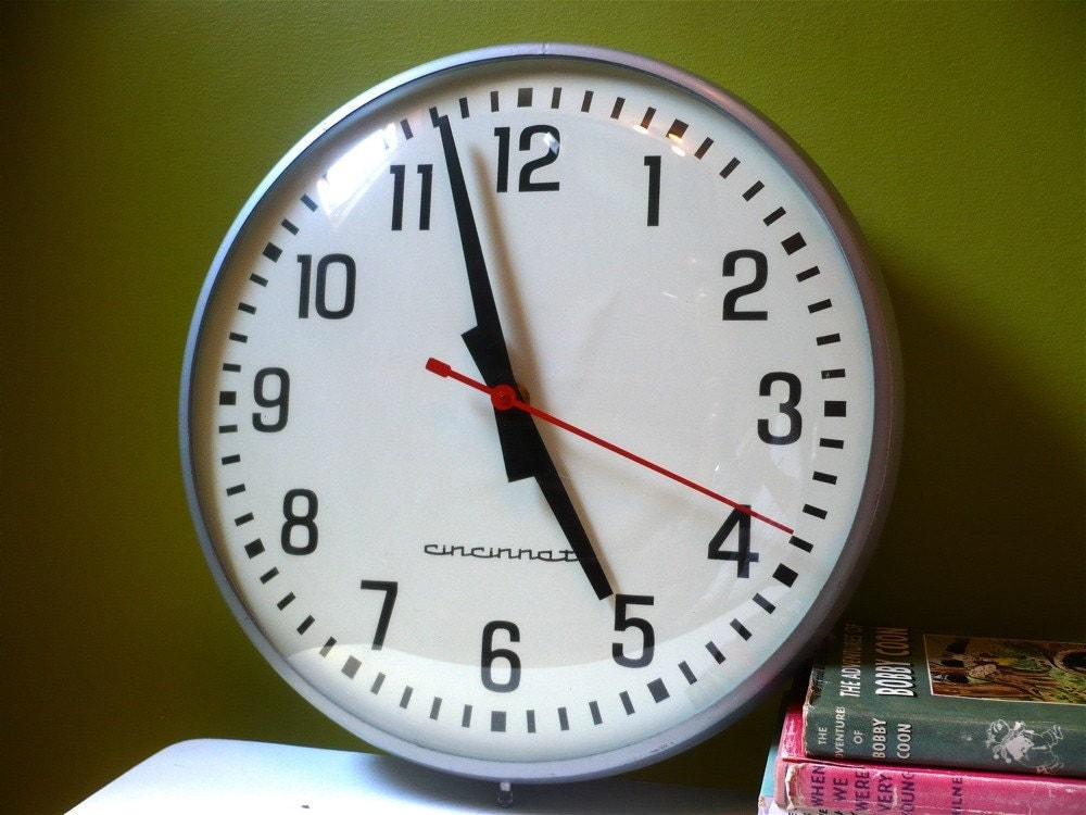 Vintage Industrial Large Wall Clock By Cincinnati Time