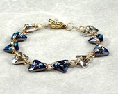 Swarovski Crystal Triangle Bracelet, Chain Maille Bracelet