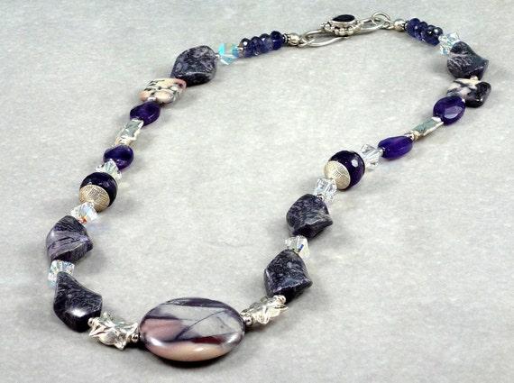 Porcelain Jasper Pendant with Purple Gemstone Necklace