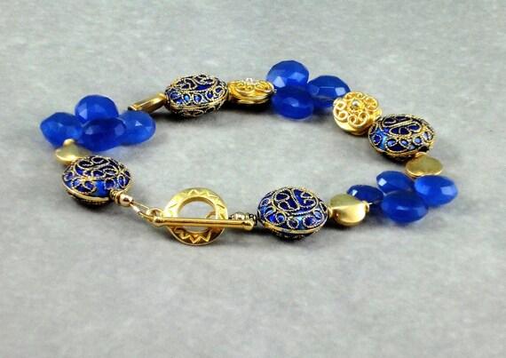 Cloisonne Bracelet, Chalcedony Bracelet, Gemstone Bracelet, Cobalt Blue, Gold Vermeil