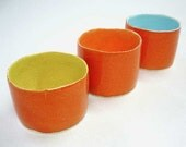 Orange Votive ceramic candle Holders colorful Spring Mother's Day Gift Home Decor handmade wheel thrown Special Group Offer