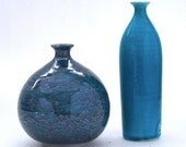 Round Bottle Pottery Vase Nautical Blue Beach Spring Easter Home Decor with Dragonfly Wing Glaze Wheel Thrown