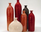 Holiday Decor, Six vases, minimalist wheel thrown pottery bottles, Honey gold Orange Red Black White, Modern Vase Ceramic Scandinavian Home - blueroompottery