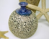 Textured Handmade Ceramic Round Bottle with Blue Crackle Lip, Rustic Autumn Home Decor, Nautical Wedding Table Decorations Gift