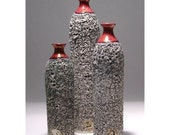 Modern Ceramic Textured Bottle OOAK Wheel thrown, 6 in. / 15cm Scandinavian Minimalist Decor
