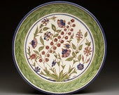 Wedding Plate Vintage Designs Wall Decor Wildflowers / Theodorou Marietta / Sgraffito Carved and Painted Handmade Ceramic Plate