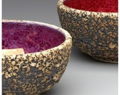 RED Small Geode Rock Bowl / Handmade Pottery