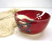 Red Knitters Yarn Bowl, Knitting Bowl, Crochet Bowl, leaves, geometric flowers, Handmade Ceramics for Knitters, Autumn Fall Decor