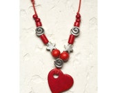 Ceramic Red Heart Necklace, Heart Jewelry, Valentine's Gift Love Silver star whimsical Bead Adjustable for her under 25