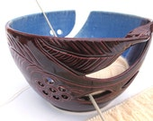 """8"""" Large POTTERY Yarn Bowl Blue and Purple Lavender Blush Blue Mix Knitting Organization Wool Crochet Ceramic Bowl Twisted Leaf IN STOCK"""