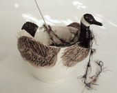 Canada Goose Yarn Bowl Handmade Pottery Personalized Gift for a Knitter