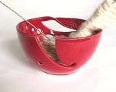 IN STOCK, Yarn Bowl, Red, Knitting bowl, Crochet large Handmade Ceramic POTTERY Twisted Leaf