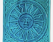 Carved Pottery Ceramic Art Tile Spring Sun Home Wall Decor Zodiac Handmade Relief Turquoise Blue