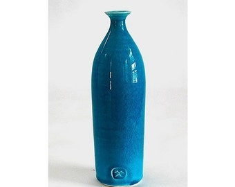 Turquoise Blue Straight Ceramic Bottle Bud vase Handmade Pottery Holidays Home Decor Coastal ocean aqua