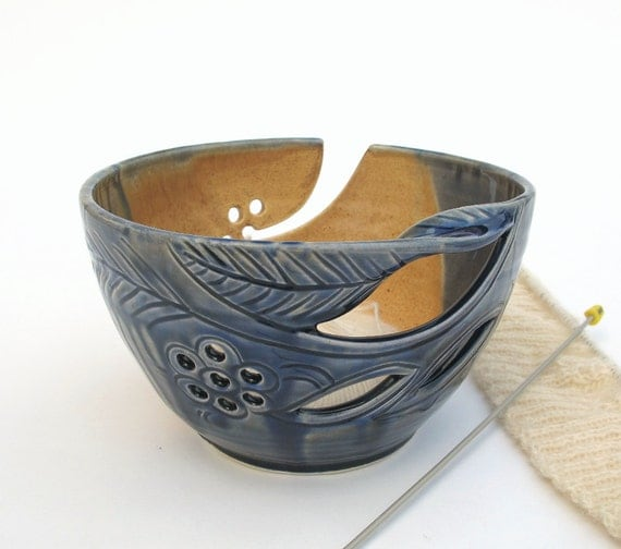 """LARGE 8 1/2"""" Ceramic Yarn Bowl Winter Creek Blue Grey Highlights Knitting POTTERY twisted leaves Christmas stoneware gift ceramics In STOCK"""