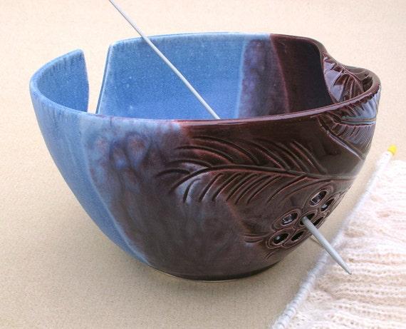 Knitting Yarn Bowl : Large pottery yarn bowl knitting blue eggplant purple