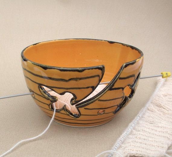 Yarn Wool Organizer Golden Yellow Beehive Knitting Bowl KNITTERS Bees wedding stoneware gift ceramics