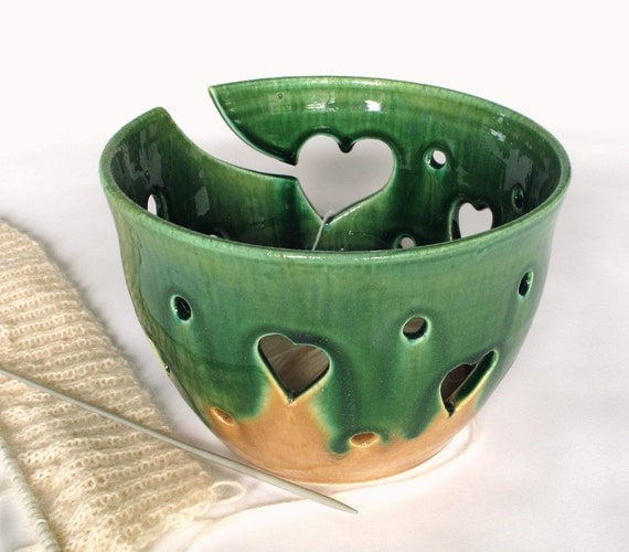 Ceramic Yarn Bowl Green Heart designs all around Handmade POTTERY As seen at Vogue Knitting LIVE