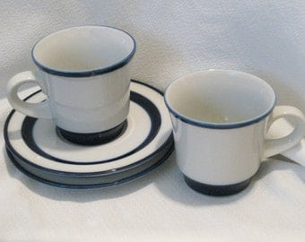 Noritake Primastone FJORD Tea Cups And Saucers (2 sets)