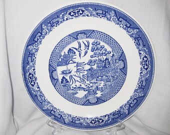 Vintage Royal China Sebring Blue Willow Chop Plate 1940's
