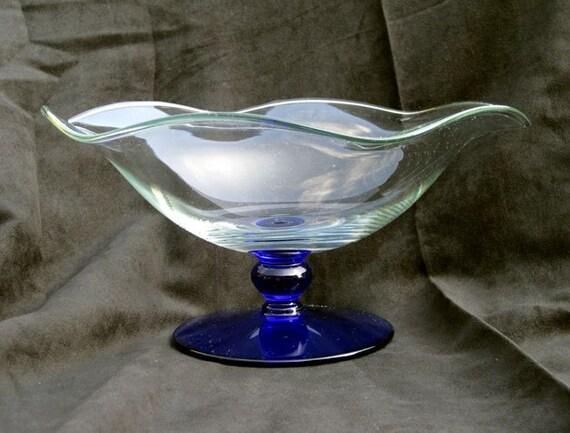 Hand Blown Glass Pedestal Bowl Cobalt Blue And Clear