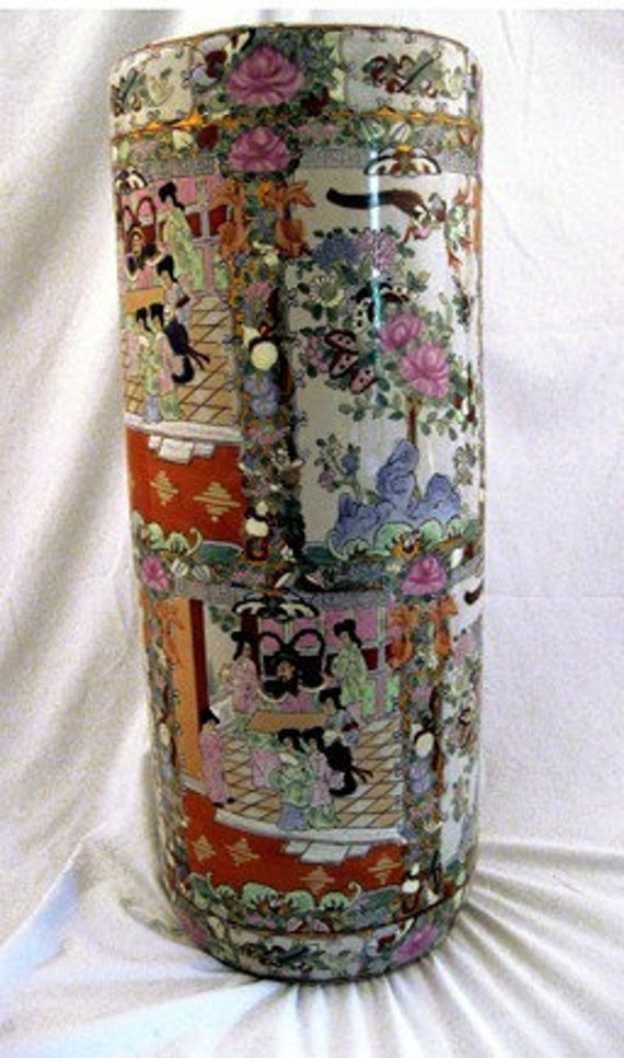 Vintage Chinese Tall Floor Vase Handpainted Free Shipping