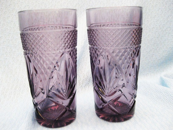 Cris D'Arques Durand Drinking glasses InThe Pattern Antique-Amethyst Set Of  2