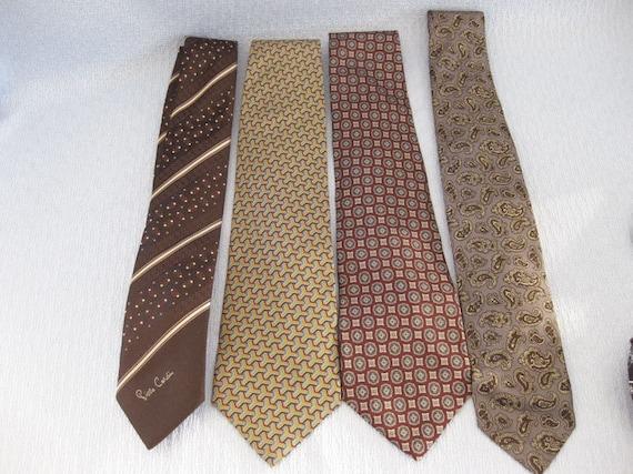 Vintage Men's Designer Silk Neckties Lot Of 4