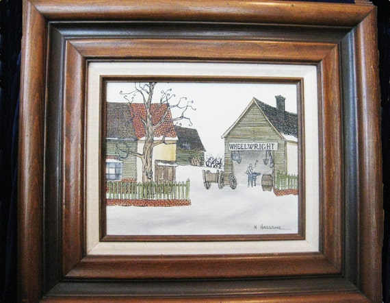 H. Hargrove Painting Wheelwright Signed Original Framed