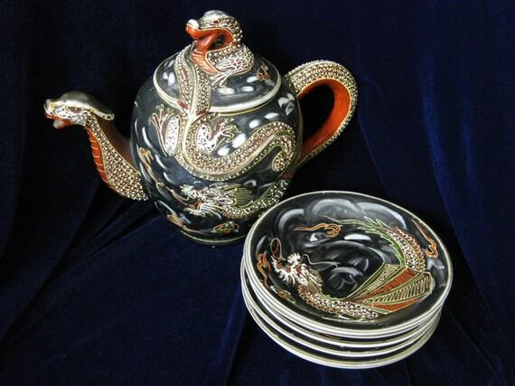 Vintage Japanese Satsuma Dragon Teapot Saucers Handpainted