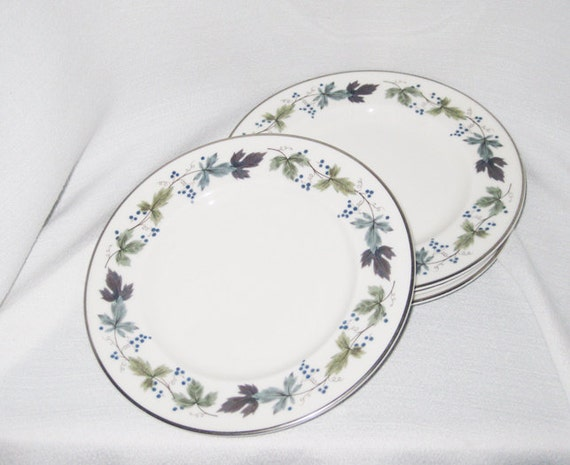 Royal Doulton Bread And Butter Plates-Burgundy(4)