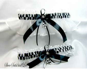CHECKERED FLAG racing wedding garters white garter