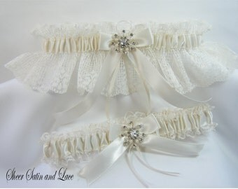 WINTER SNOWFLAKE Wedding Garters Ivory Lace with Pearl Rhinestone Garter
