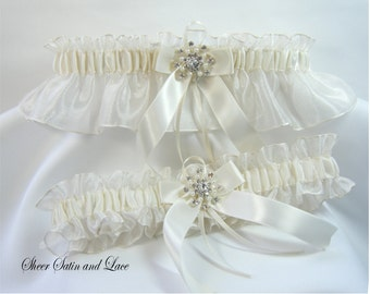 WINTER SNOWFLAKE Wedding Garters Ivory with Pearl Rhinestone Garter