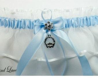 BLUE IRISH Wedding garters Claddaugh  keepsake Garter