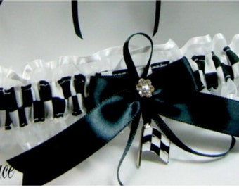 CHECKERED FLAG racing wedding garters white garter Toss