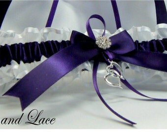 Toss Plum and White wedding garter with double heart