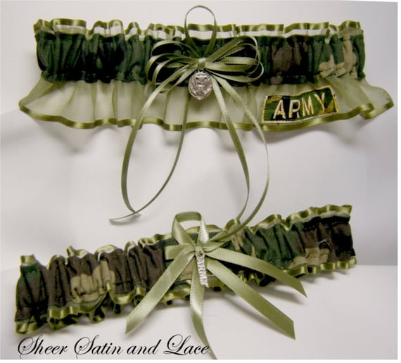 ARMY MILITARY Camouflage Wedding Garters Camo By