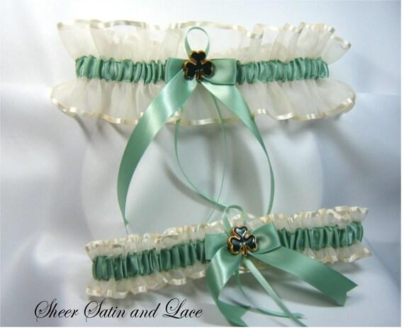 IRISH SHAMROCK Wedding garters Ivory Sage Green Garter set