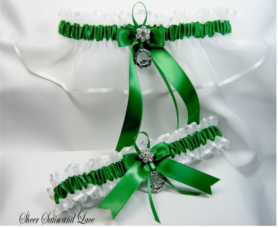 EMERALD IRISH Wedding garters claddaugh Garter set
