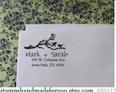 Birds in a branch Custom Rubber Stamp - SAVE the DATE Personalized Wedding Stationery Self Inking Address Stamper