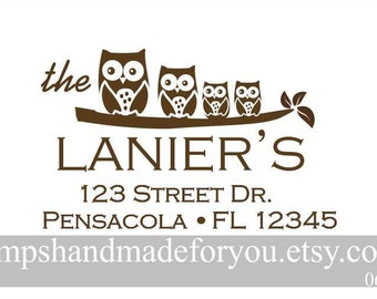 Personalized Self ink  Owl Family return address stamp -  family stamp self ink - customized stamp - handmade stamp