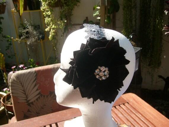 Black Velvet, vintage rhinestone earrings, Fusion or Cabaret Belly dance hairband SALE