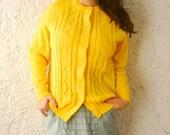 1950s Lemon Yellow Knit Cardigan Sweater- sz Large