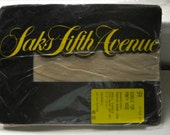 Vintage 1980s Saks Fifth Avenue Nude Girdle Top Panty Hose Stockings - Small