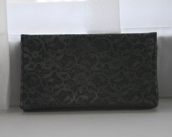SALE 1980s 90s Charcoal Lace Clutch - Valentines Day